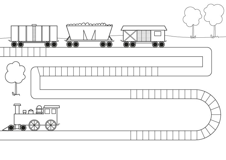 con vagones: dibujo para colorear e imprimir
