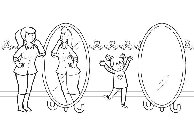 Espejos deformantes dibujo para colorear e imprimir for Espejo de pared cuerpo entero