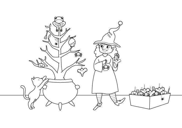 Árbol de Navidad de la bruja: dibujo para colorear e imprimir