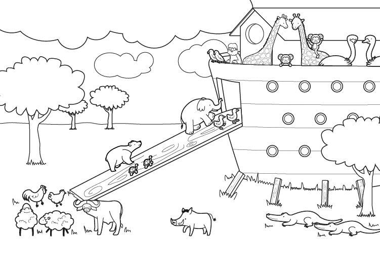 Arca De Noé Dibujo Para Colorear E Imprimir