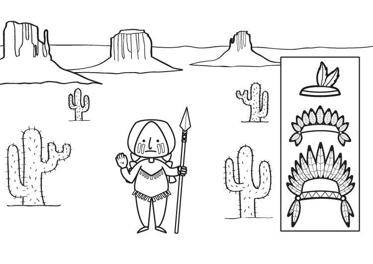 Indio con plumas: dibujo para colorear e imprimir