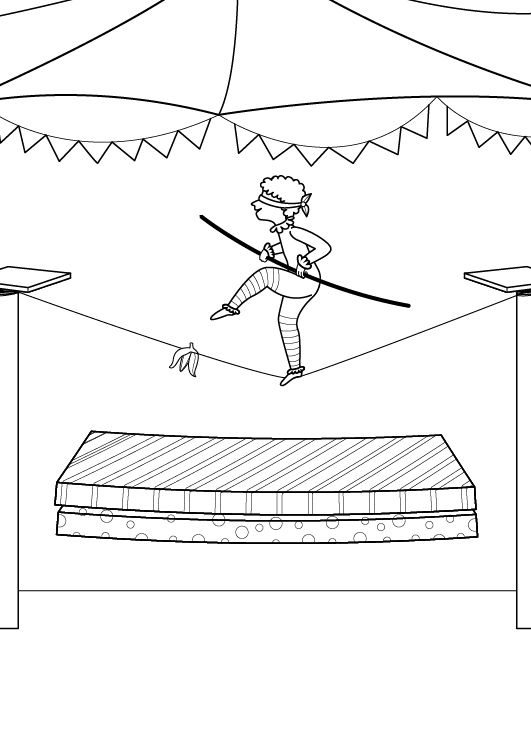 Equilibrista en apuros: dibujo para colorear e imprimir