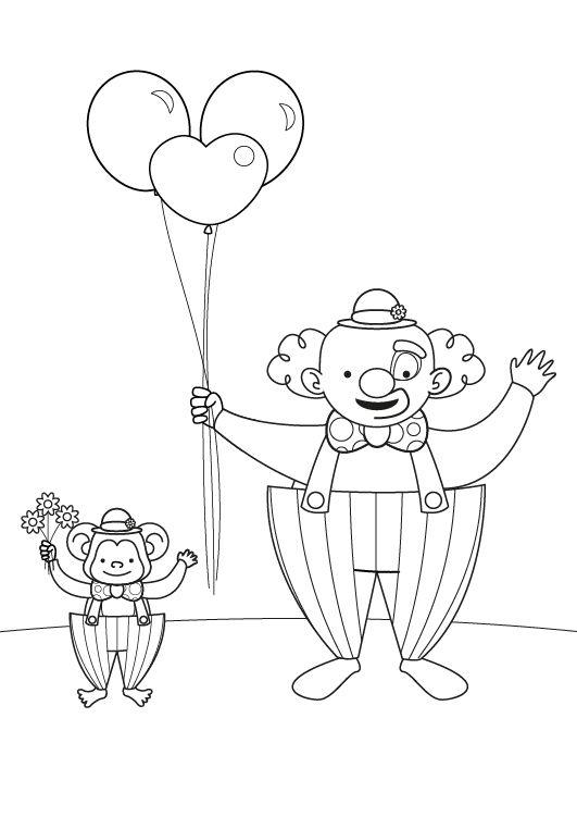 Payaso Y Mono Dibujo Para Colorear E Imprimir
