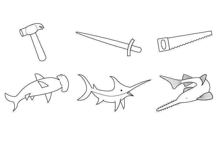 Imágenes de peces y objetos: dibujo para colorear e imprimir