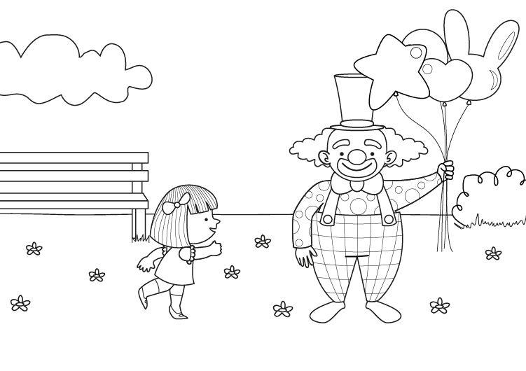 Vendedor de globos: dibujo para colorear e imprimir