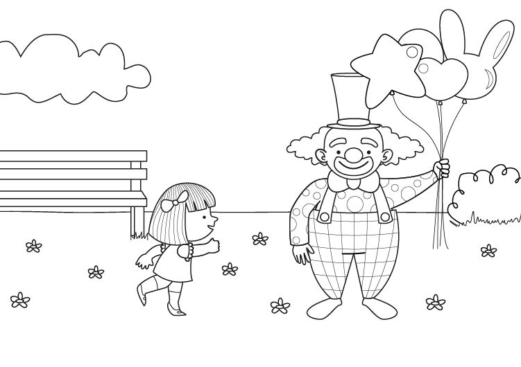 Dibujo Parque Infantil Para Colorear: Vendedor De Globos: Dibujo Para Colorear E Imprimir