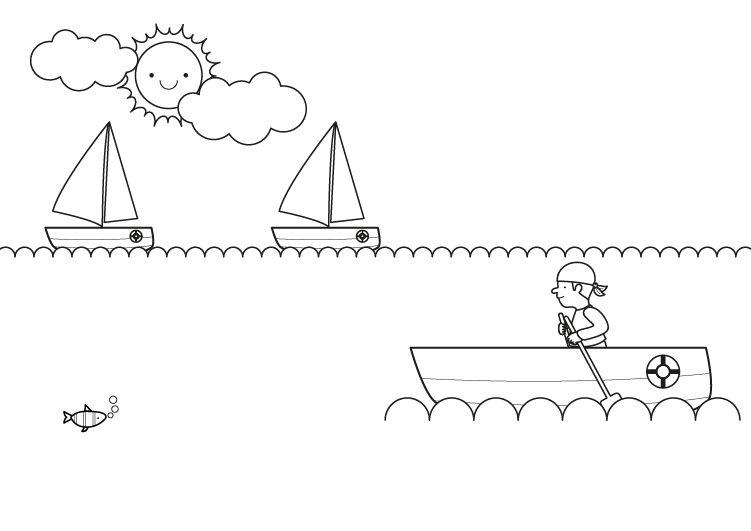 Barco sin vela: dibujo para colorear e imprimir