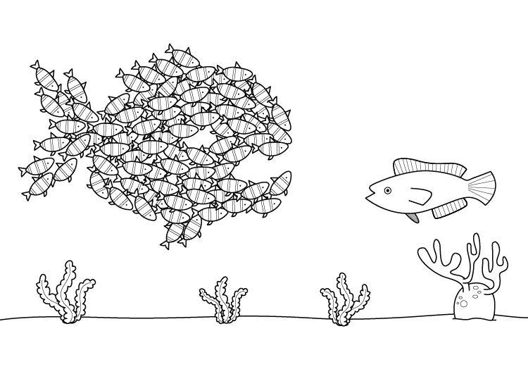 Banco de peces: dibujo para colorear e imprimir