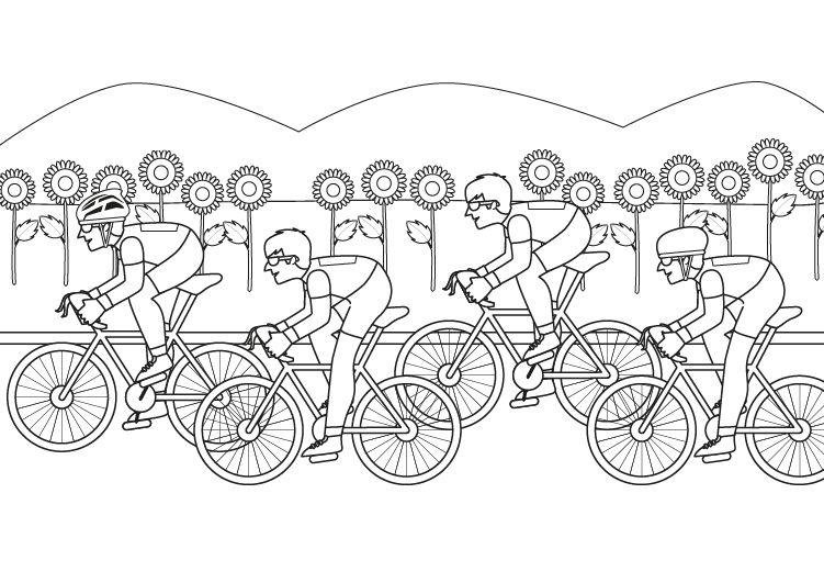 Carrera ciclista: dibujo para colorear e imprimir