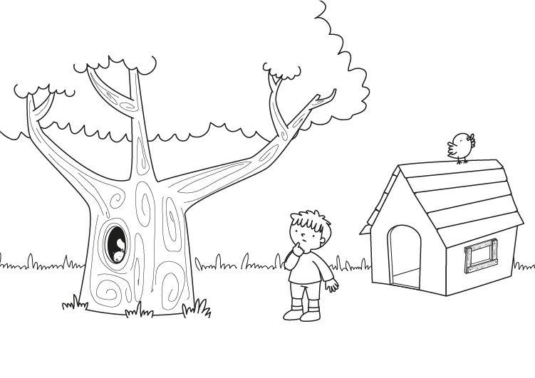 Dibujos De Arboles Coloreados: Cabaña En El árbol: Dibujo Para Colorear E Imprimir