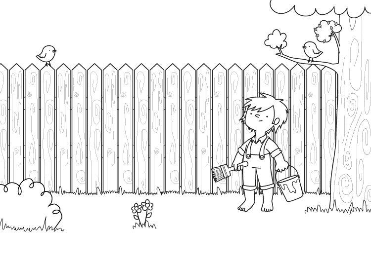 Tom Sawyer: dibujo para colorear e imprimir