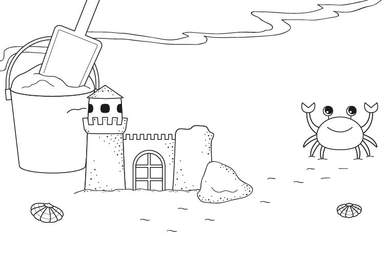 Castillo de arena: dibujo para colorear e imprimir