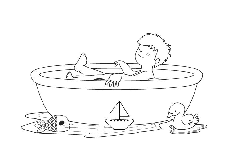 Baños Infantiles Para Colorear:  ¡Sino, Tom va a salir a por ellos y lo va a llenar todo de agua