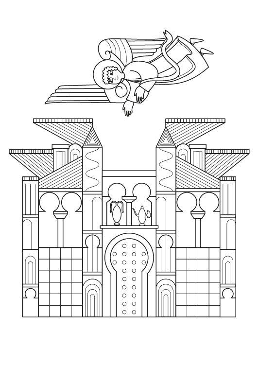 Miniatura medieval: dibujo para colorear e imprimir