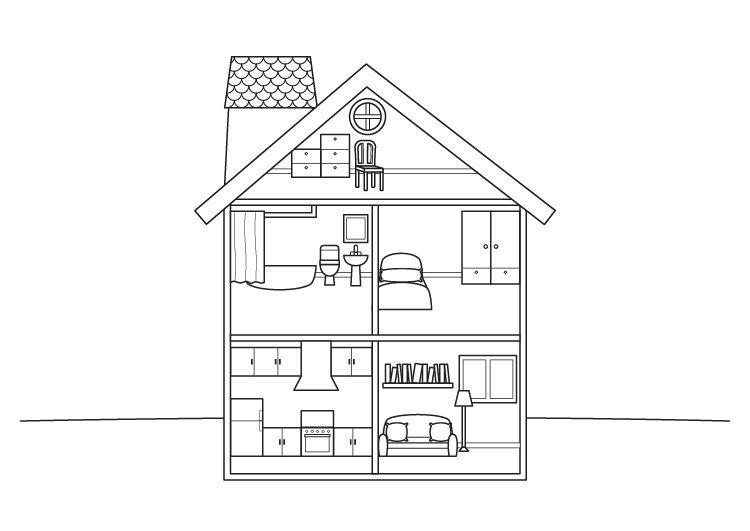 Imprimir: Casa de muñecas: dibujo para colorear e imprimir