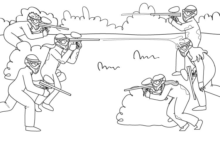 Paintball: dibujo para colorear e imprimir