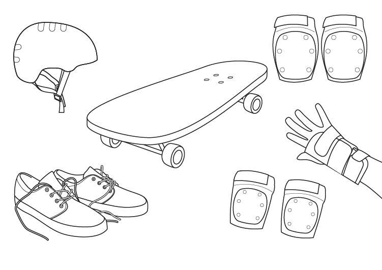 Skateboard: dibujo para colorear e imprimir