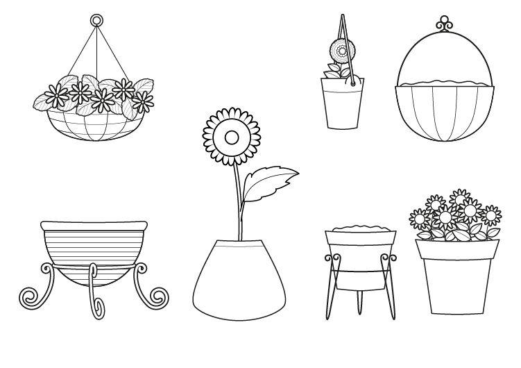 Macetas dibujo para colorear e imprimir for Imagenes de plantas en macetas
