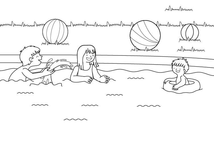 Ni os en piscina dibujo para colorear e imprimir for Clases de piscina para ninos