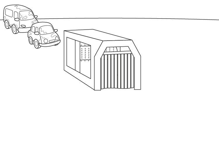 Túnel de lavado de coches: dibujo para colorear e imprimir
