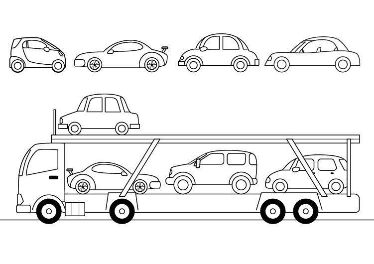 Camión portacoches: dibujo para colorear e imprimir