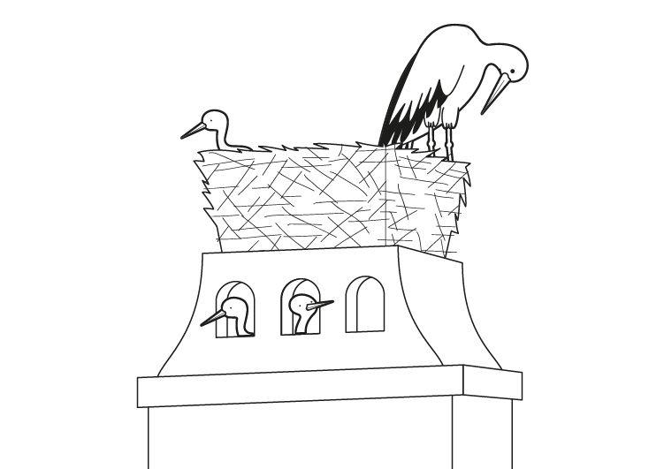Cigüeñas: dibujo para colorear e imprimir