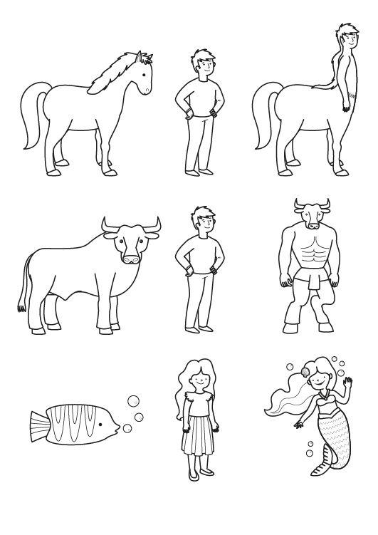 Criaturas híbridas: dibujo para colorear e imprimir