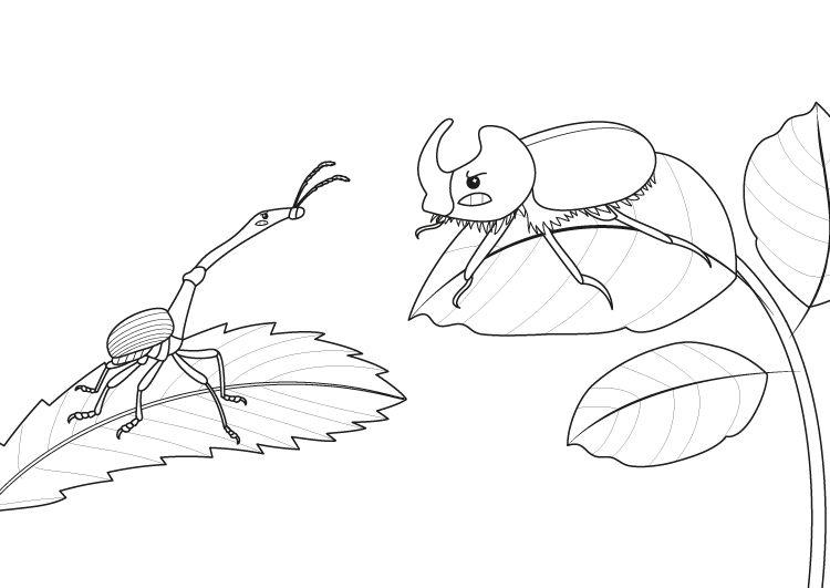 Dinosaurio o insecto?: dibujo para colorear e imprimir