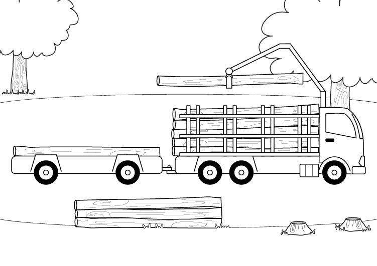 Camión maderero: dibujo para colorear e imprimir