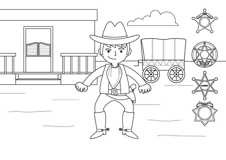 Imagenes Para Colorear De Ninos Vaqueros Dibujo de un vaquero del ...