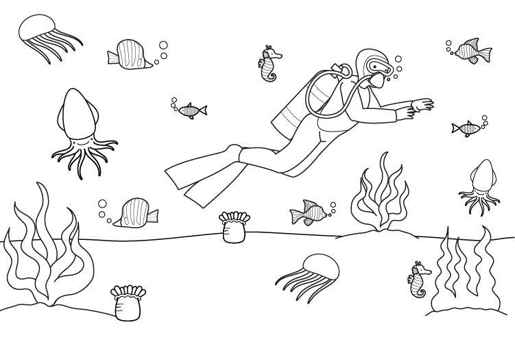 Submarinista: dibujo para colorear e imprimir