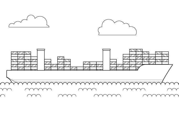 El barco más grande del mundo: dibujo para colorear e imprimir