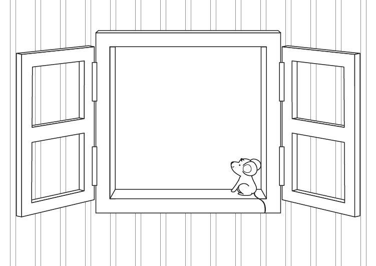 Ventana: dibujo para colorear e imprimir