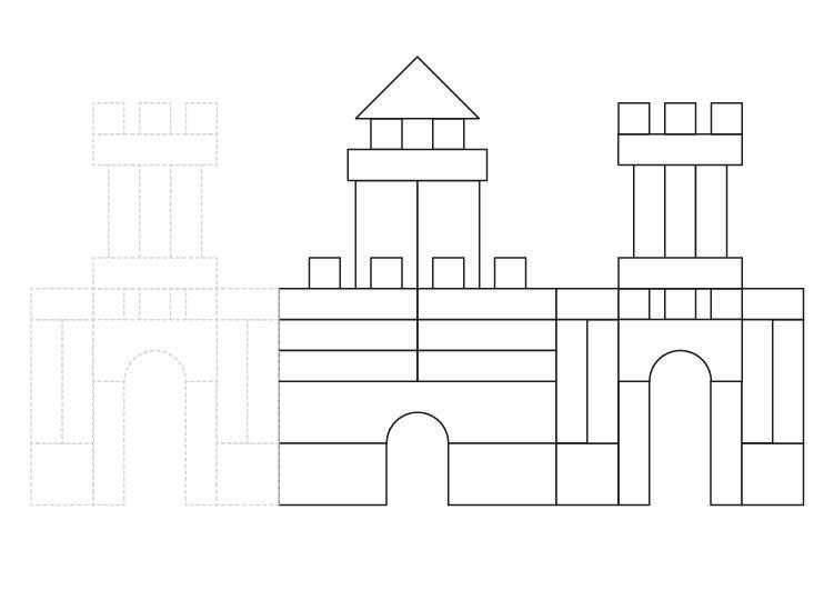 Castillo de direferentes formas: dibujo para colorear e imprimir