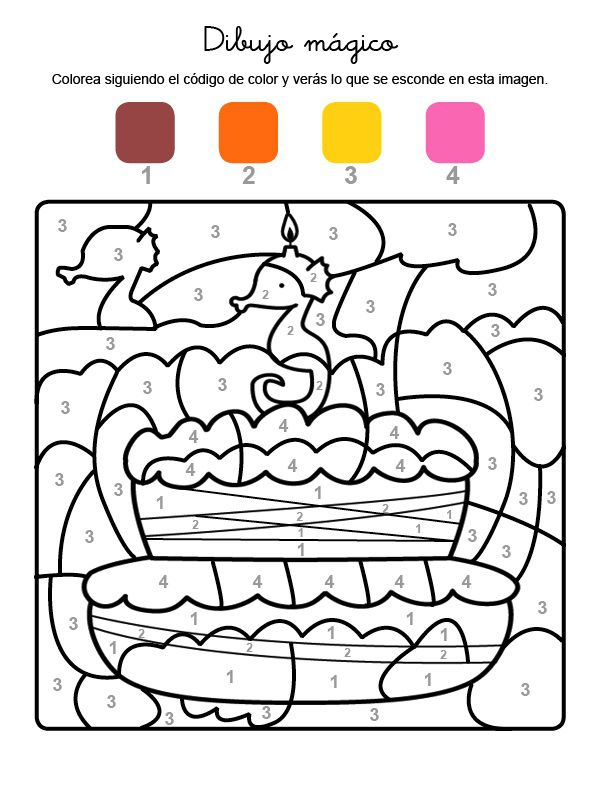 Dibujo mágico cumpleaños 3: dibujo para colorear e imprimir