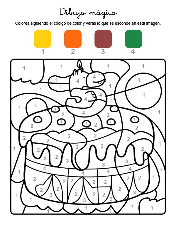 mágico cumpleaños 5: dibujo para colorear e imprimir