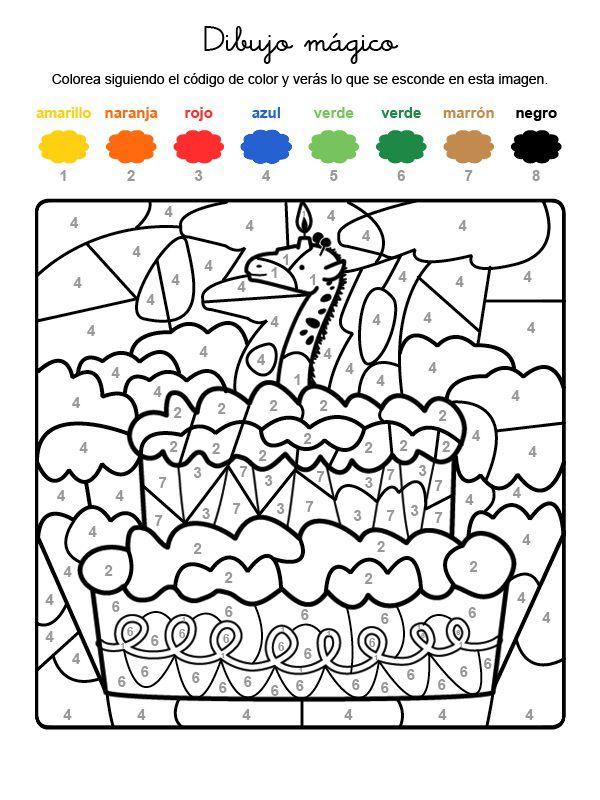 Dibujo mágico cumpleaños 7: dibujo para colorear e imprimir