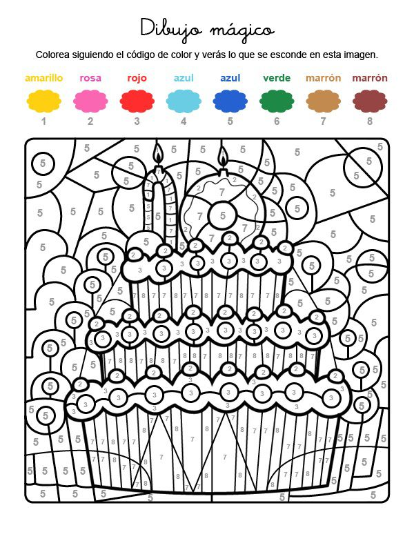 Dibujo mágico cumpleaños 10: dibujo para colorear e imprimir