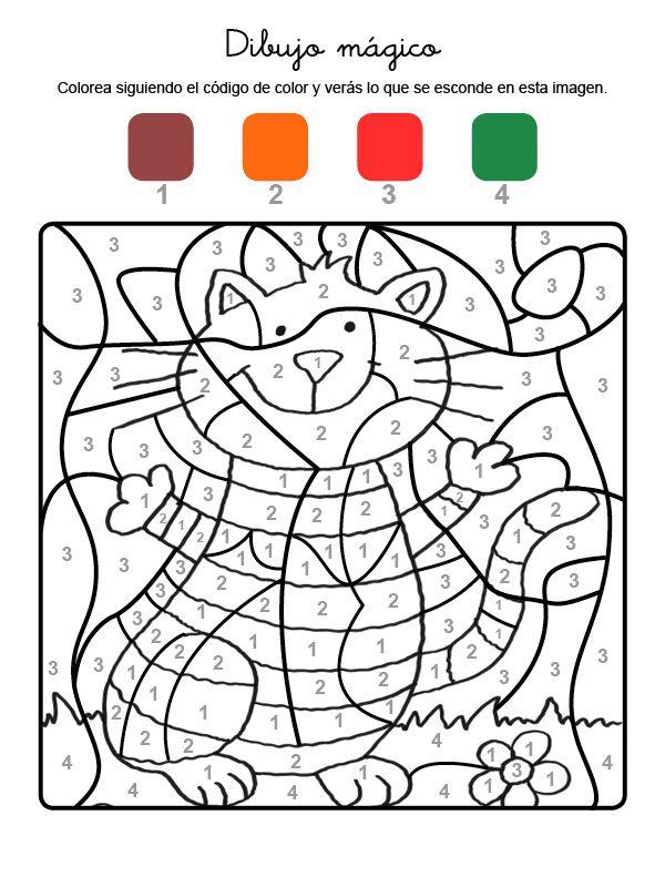 mágico gato con rayas: dibujo para colorear e imprimir