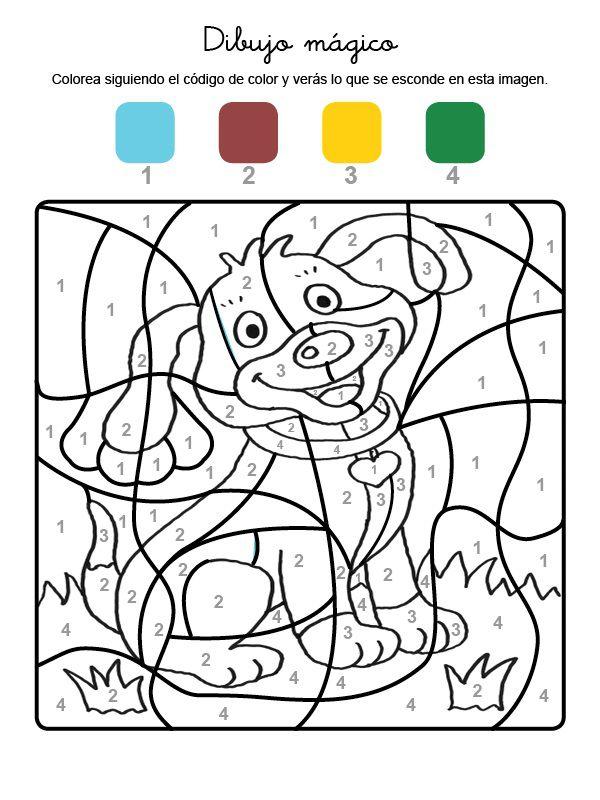 Dibujo mágico de un perrito: dibujo para colorear e imprimir