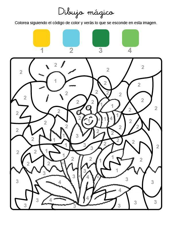 mgico de una abeja y flores dibujo para colorear e imprimir