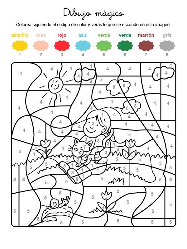 Dibujo mágico de un niño y gatito: dibujo para colorear e imprimir