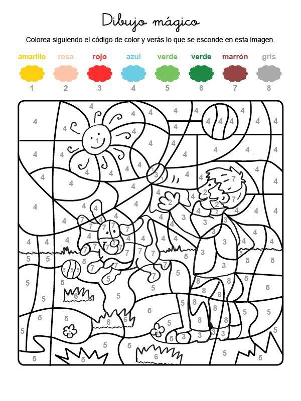 Dibujo mágico de perro jugando: dibujo para colorear e imprimir