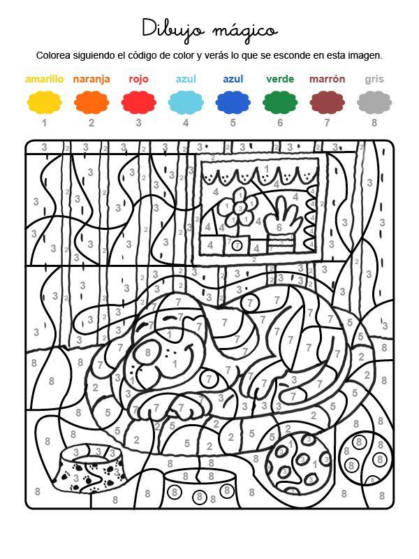 Dibujo mágico de perro durmiendo: dibujo para colorear e imprimir