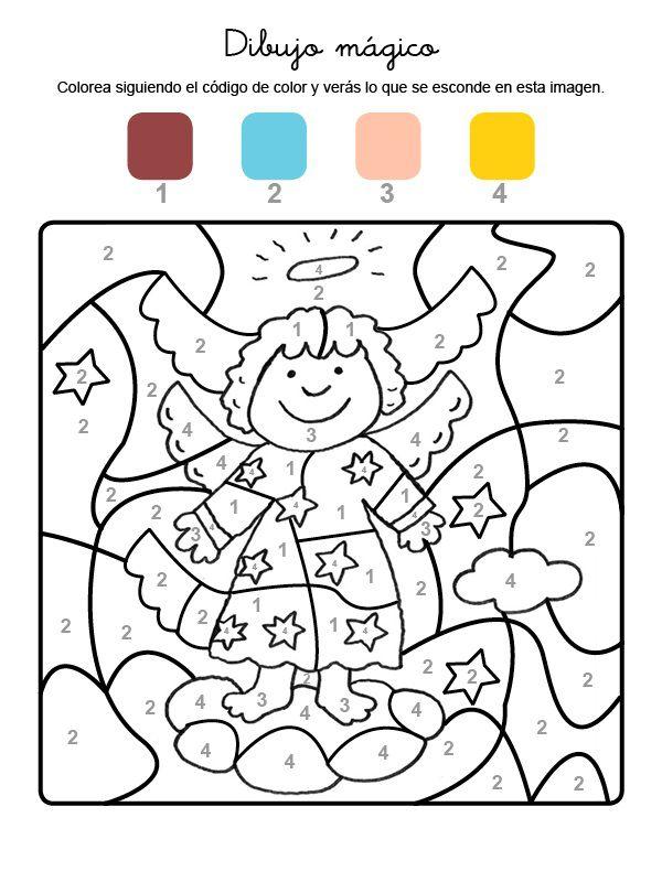 Imprimir: Dibujo mágico de un ángel: dibujo para colorear ...