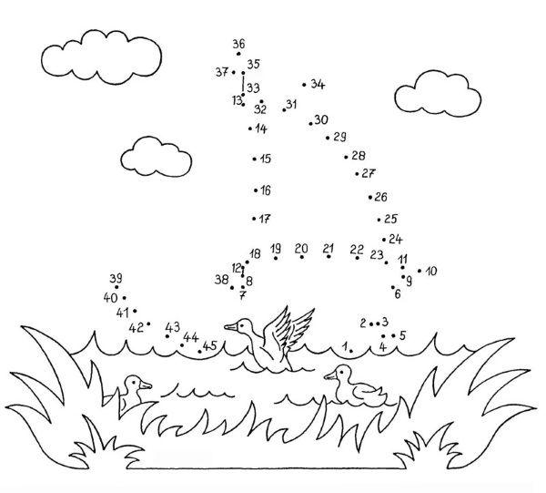 Dibujo de unir puntos de barco de vela: dibujo para colorear e
