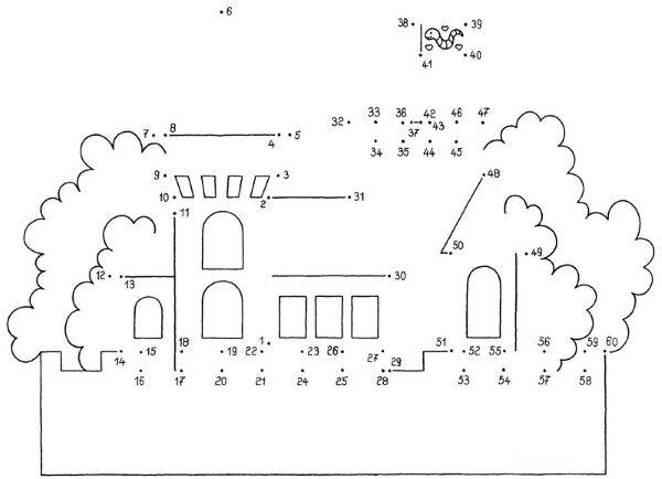 Dibujo de unir puntos de un castillo: dibujo para colorear e imprimir