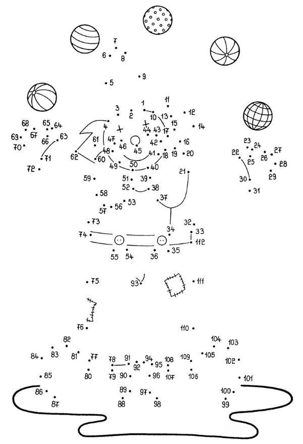 Dibujo de unir puntos de un payaso: dibujo para colorear e imprimir