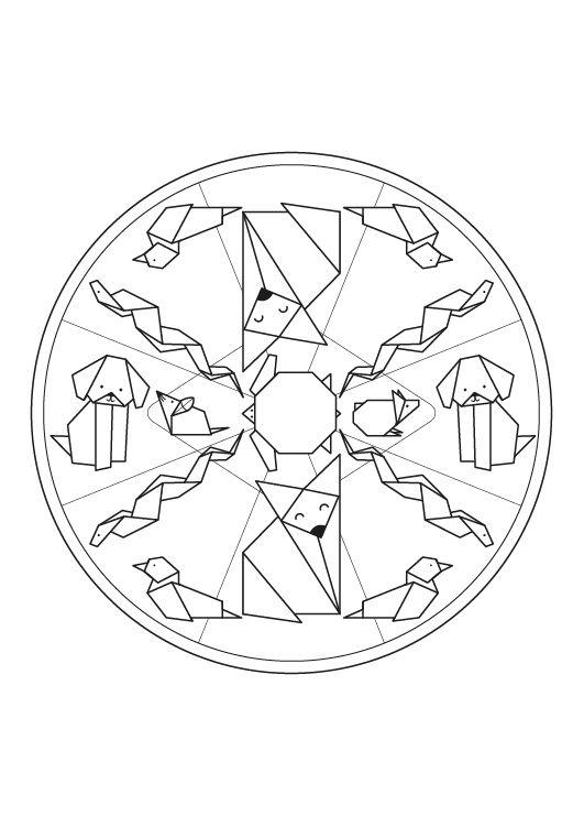 Mandala origami dibujo para colorear e imprimir for Mandalas ninos