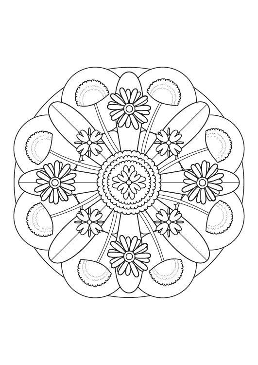 Mandala floral dibujo para colorear e imprimir for Mandalas ninos